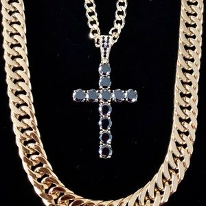 CROSS 18K GOLD FULL BLACK DIAMONDS CZ CHAIN ITALY